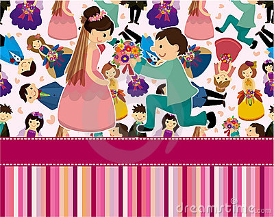 Cartoon Wedding ceremony - bride and groom seamles