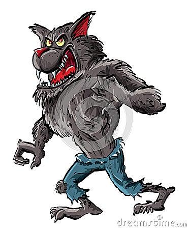 Cartoon werewolf with claws and teeth