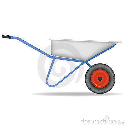 Cartoon wheelbarrow. Cart for dirt.