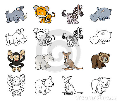 Cartoon Wild Animal Illustrations