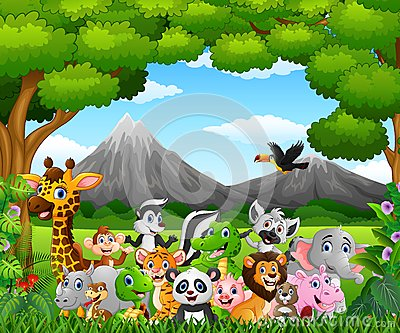 Cartoon wild animal in the jungle Vector Illustration