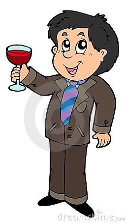 Cartoon wine drinker