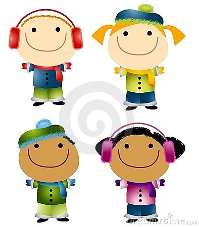 an illustration featuring cartoonish kids dressed and ready for winter weather with hats scarves mittens and warm coats - Kids Cartoon Images