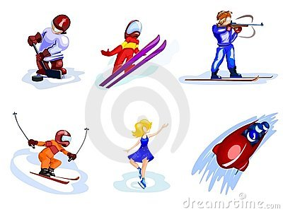 Cartoon winter sports
