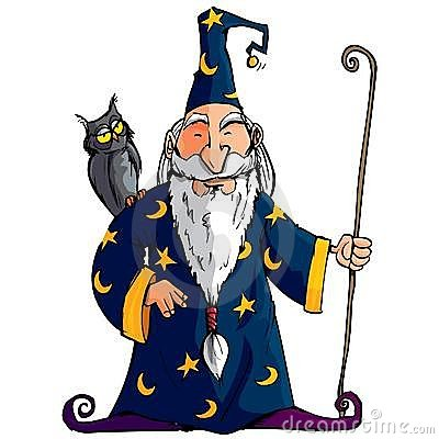 Cartoon Wizard with a staff. He has an owl on his shoulder.