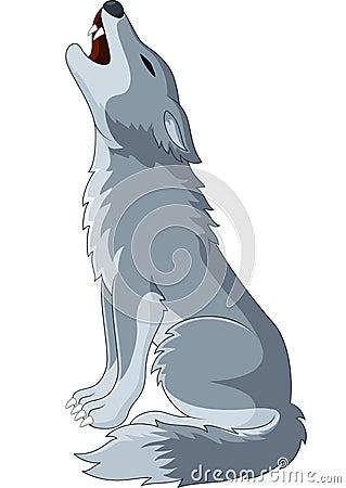 Cartoon Wolf Howling Stock Vector Image 55841924