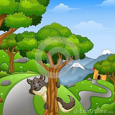 Cartoon wolf lurking in the forest road Vector Illustration