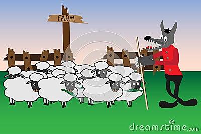 Cartoon with wolf and sheep