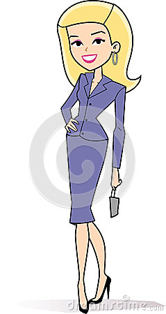 Cartoon Woman Clipart In Retro Style Drawing Stock Image - Image ...