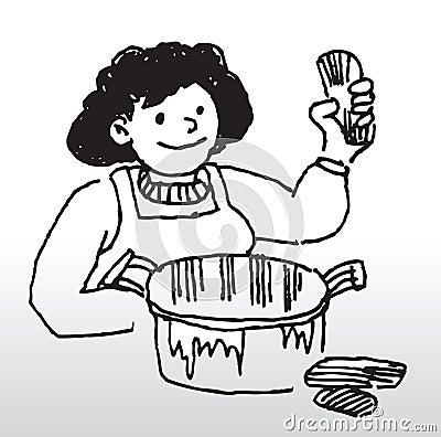 Cartoon woman cooking food