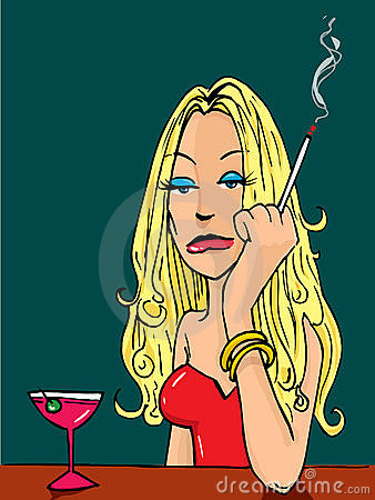 Free Cartoon Woman Smoking At The Bar Royalty Free Stock Images - 20841389