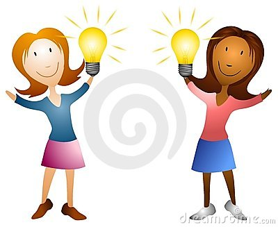 Cartoon Women Holding Lightbulbs