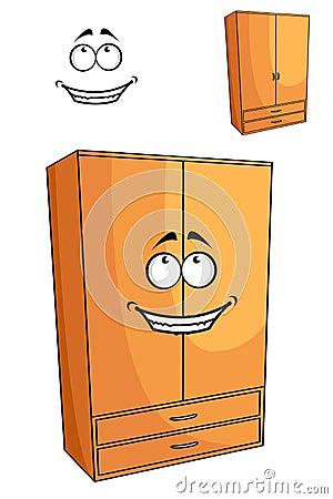 Cartoon Wooden Bedroom Cupboard Or Wardrob Stock Vector