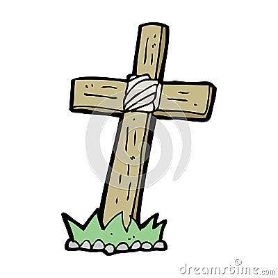 Cartoon Wooden Cross Grave Stock Images - Image: 37015164