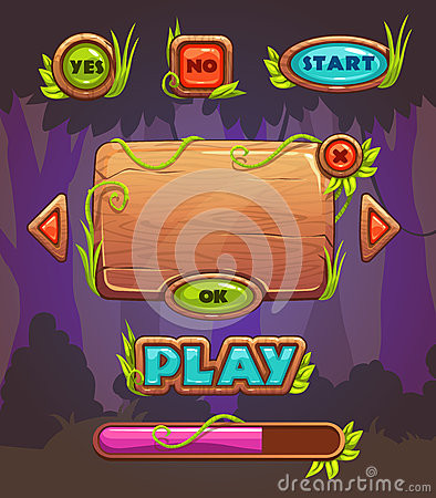 Free Cartoon Wooden Game User Interface Stock Images - 65993424