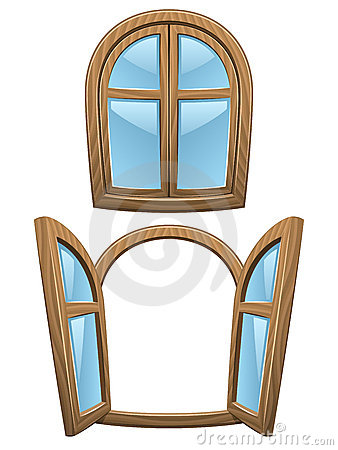 Cartoon wooden windows
