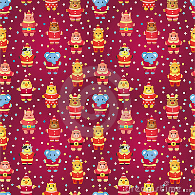 Cartoon xmas party animal seamless pattern