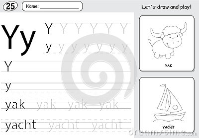 Cartoon Yak And Yacht. Alphabet Tracing Worksheet: Writing A-Z A ...