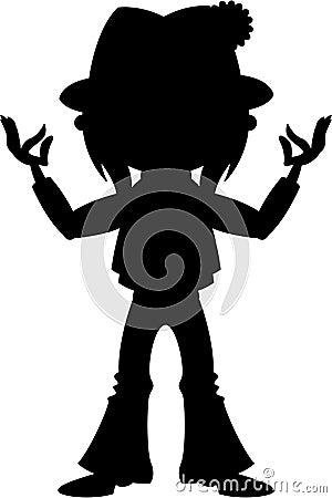 Cartoon Yoga Hippie Silhouette Vector Illustration