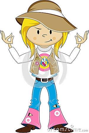 Cartoon Yoga Hippie Vector Illustration