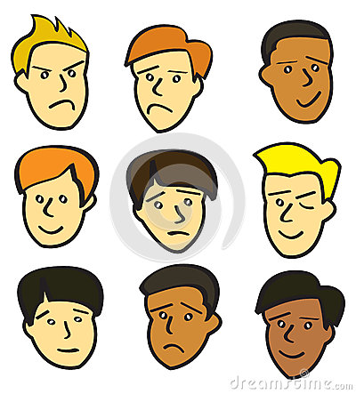 Cartoon Young Male Faces