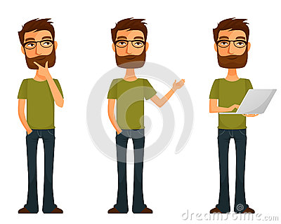 Cartoon young man with beard and glasses