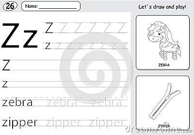 Cartoon Zebra And Zipper. Alphabet Tracing Worksheet Stock ...