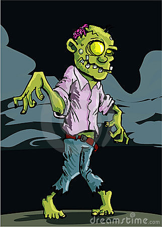 Cartoon zombie with cloudy night sky