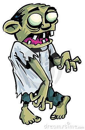 Cartoon zombie with exposed brain.