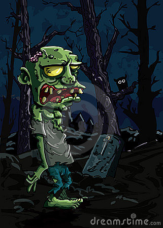 Cartoon zombie in a graveyard
