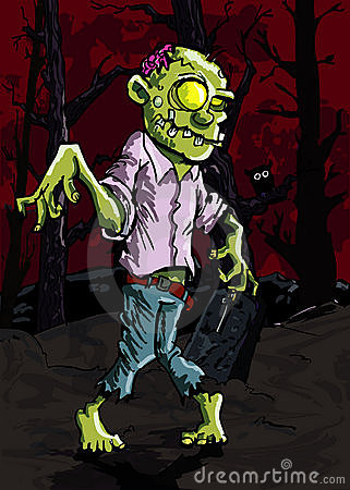 Cartoon zombie in a graveyard