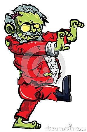 Cartoon zombie santa with one boot