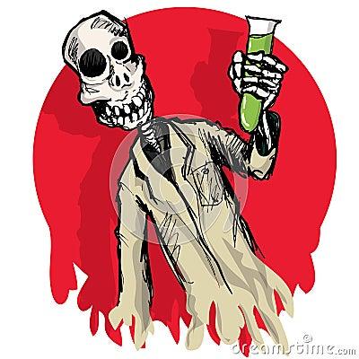 Cartoon zombie scientist