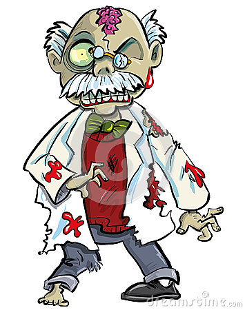 Cartoon zombie scientist with brains showing