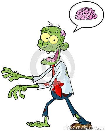 Cartoon Zombie And Speech Bubble