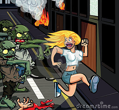 Cartoon zombies chasing woman