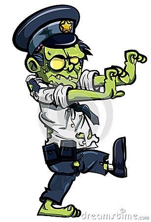 Cartoon zombiw policeman