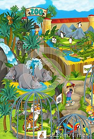 Cartoon Zoo Amusement Park Illustration For The