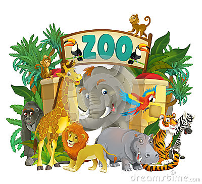 Free Cartoon Zoo - Amusement Park - Illustration For The Children Stock Photo - 32378570
