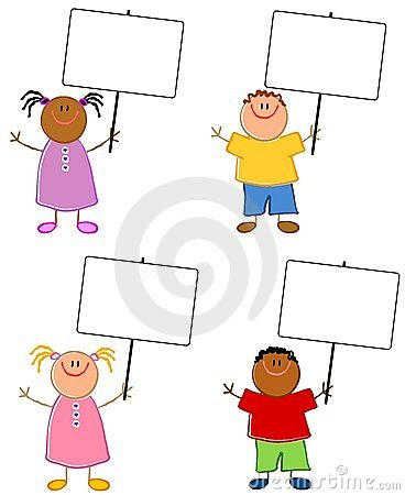 Cartoonish Children Holding Signs