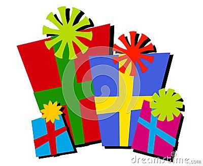 Cartoonish Christmas Gifts Isolated