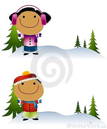 Cartoonish Kids in Snow 2