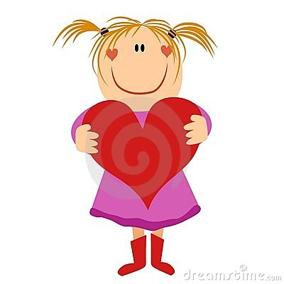 clip art illustration featuring a little girl holding a Valentine's ...