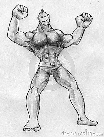 Cartoonish muscular guy