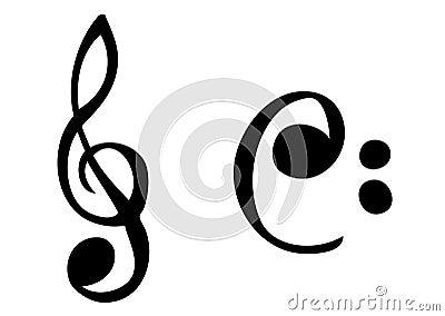 Cartoonish music symbols