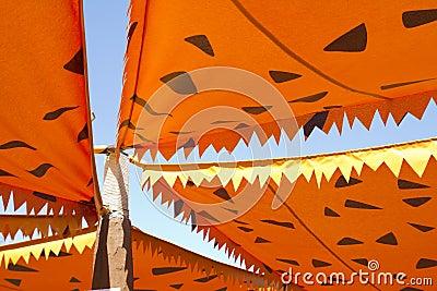 Cartoonish orange awning