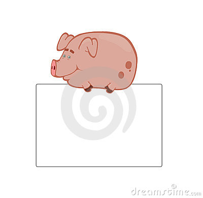 Cartoonish piggy on the board
