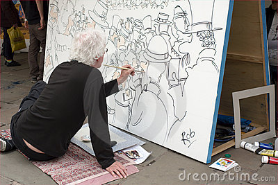 Cartoonist at Work Editorial Photo