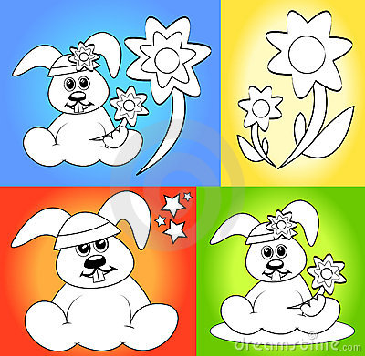 Cartoons for coloring book pages