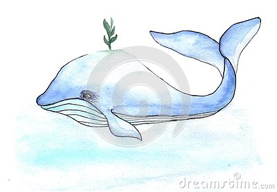 Cartoons watercolors cute whale with small book Stock Photo